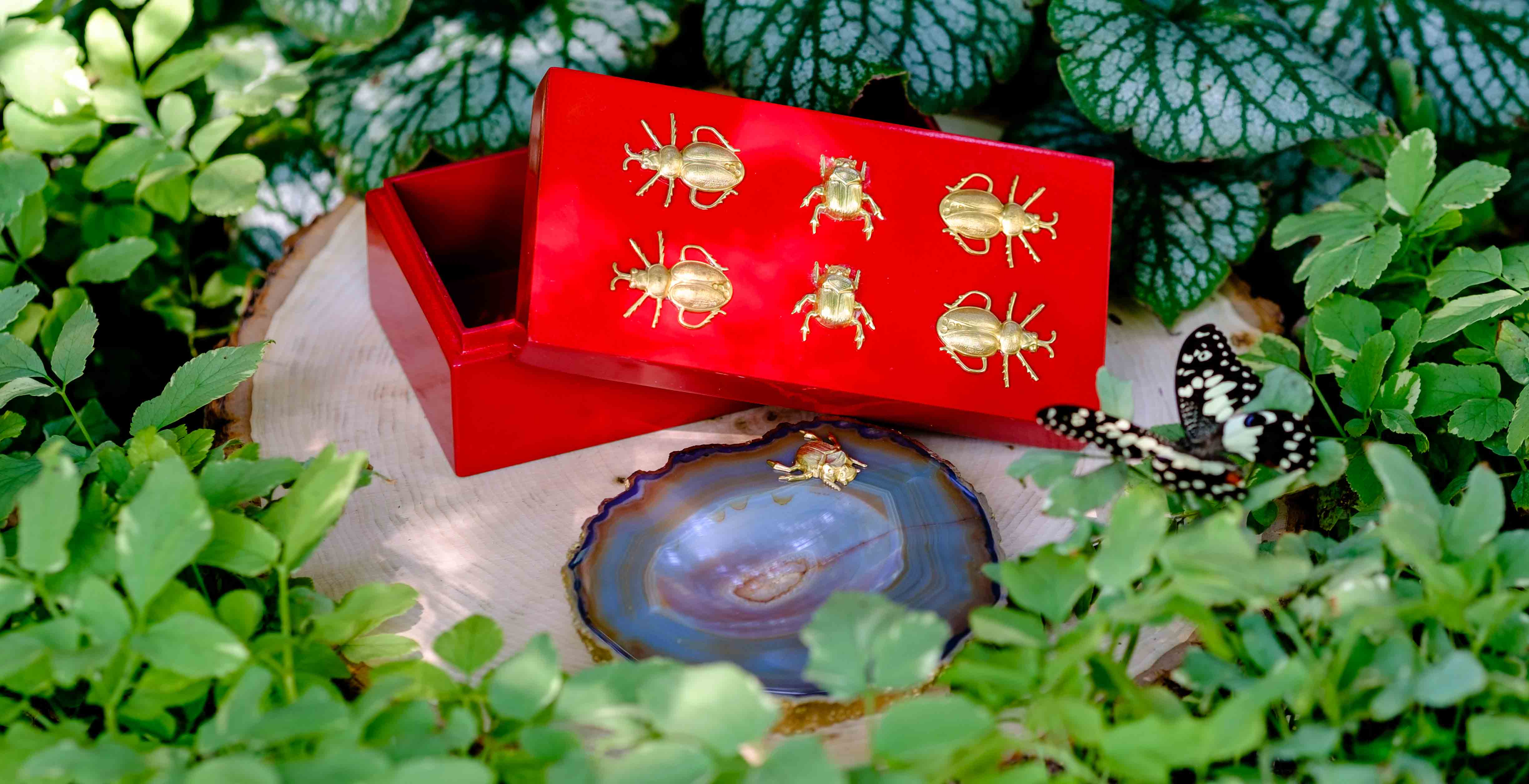 Medium Red Lacquer Box with brass bugs, Red is the color of Fall, runway inspired Fashion Fall 2017-18
