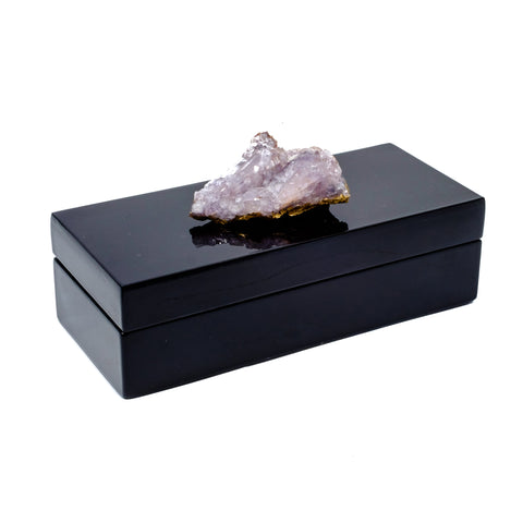 Small black lacquer box with Amethyst Specimen by Mapleton Drive.