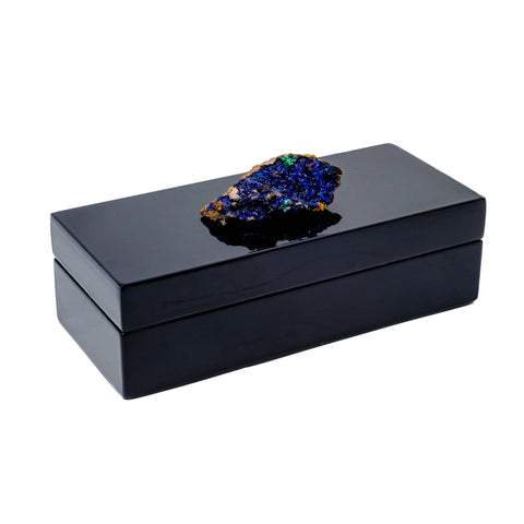 Black Lacquer box with an azurite specimen by Mapleton Drive.
