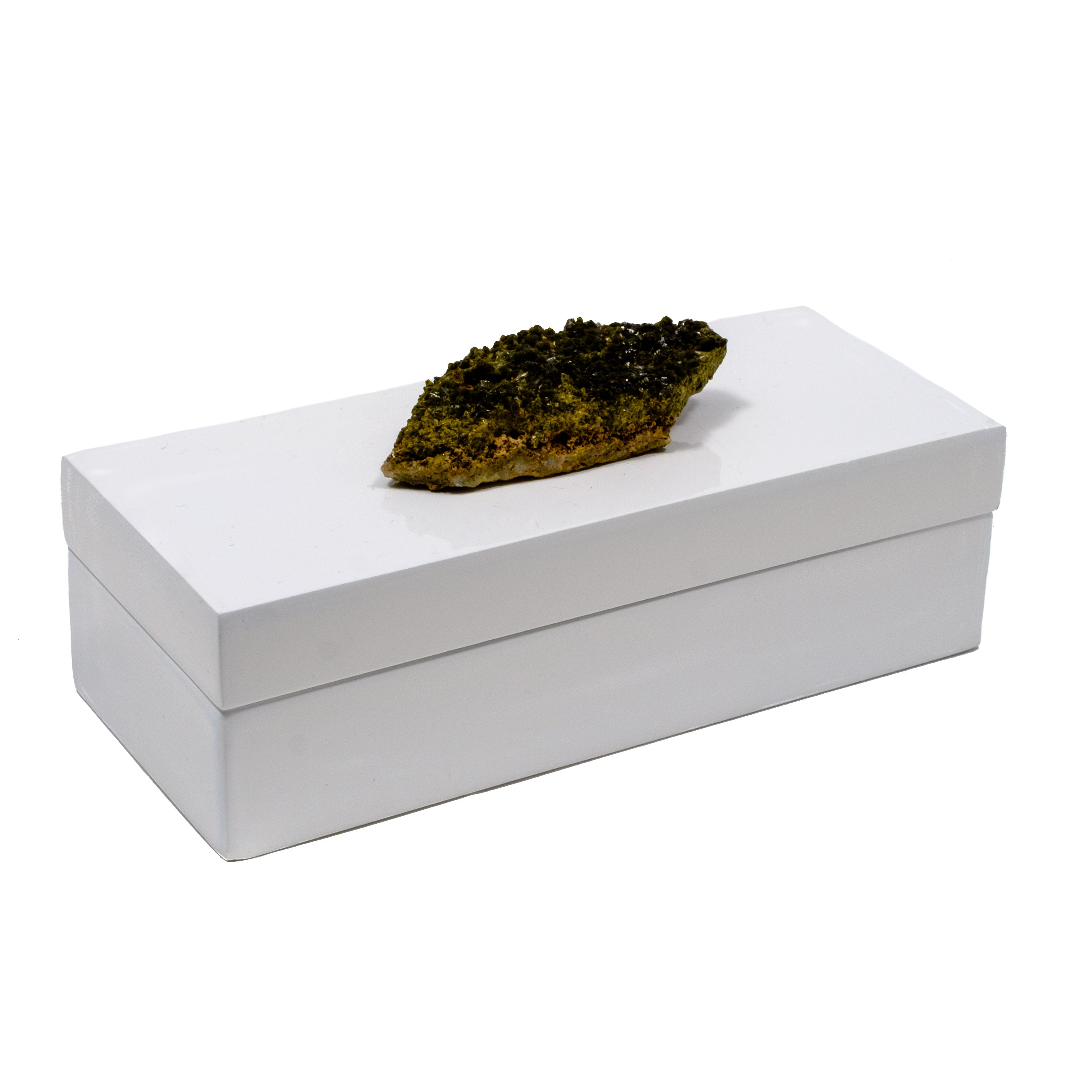 White Lacquer box with a moss green crystal by Mapleton Drive