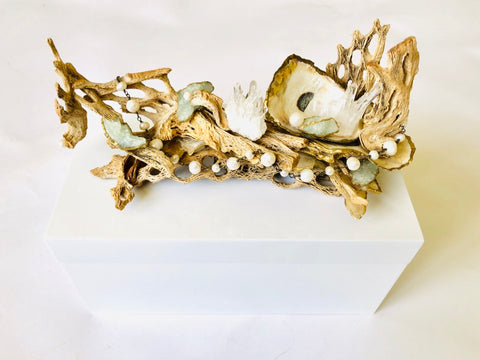 Large White Lacquer Box with Seashell, Driftwood, Freshwater Pearls and Aquamarine