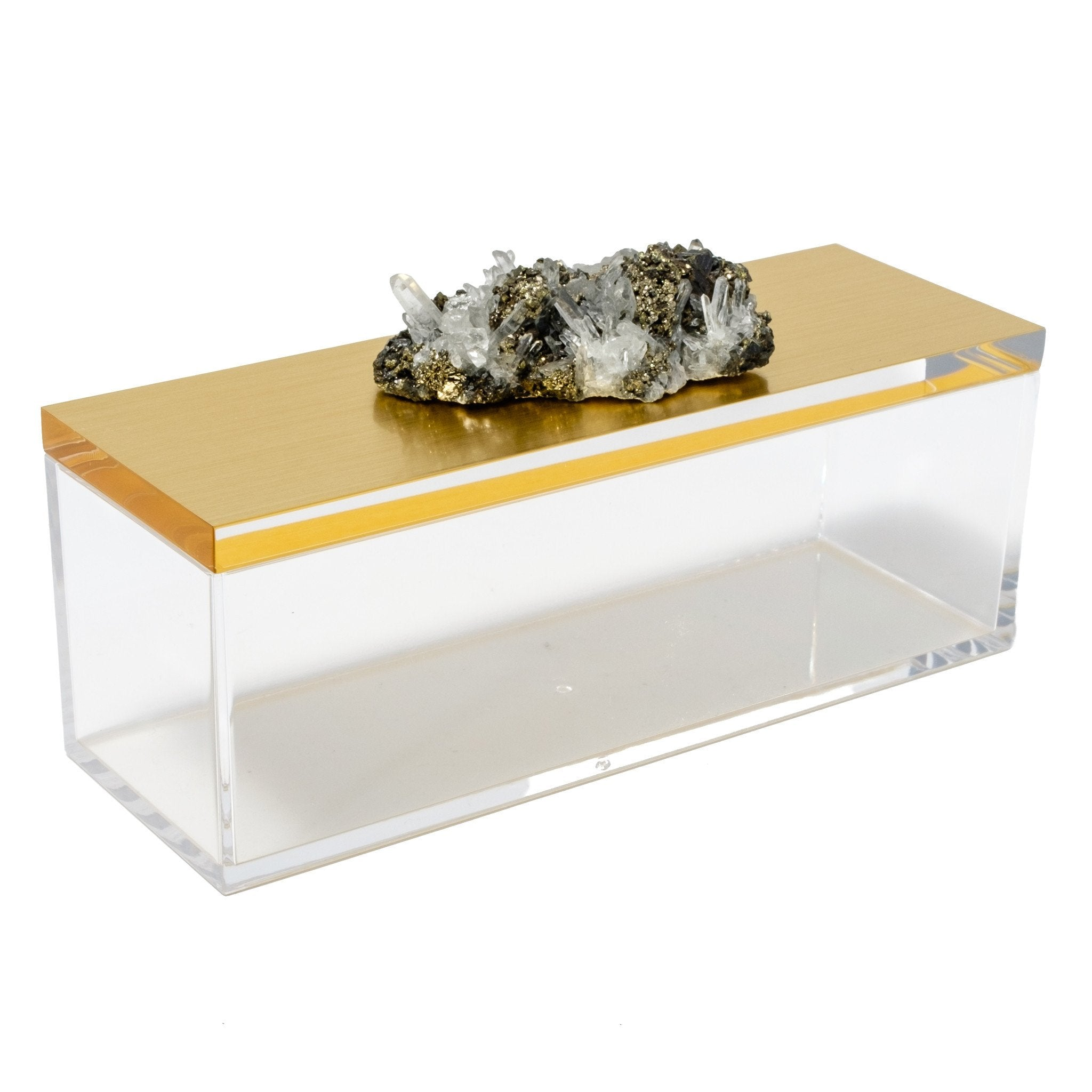 Acrylic Gold Box w/ Pyrite Quartz