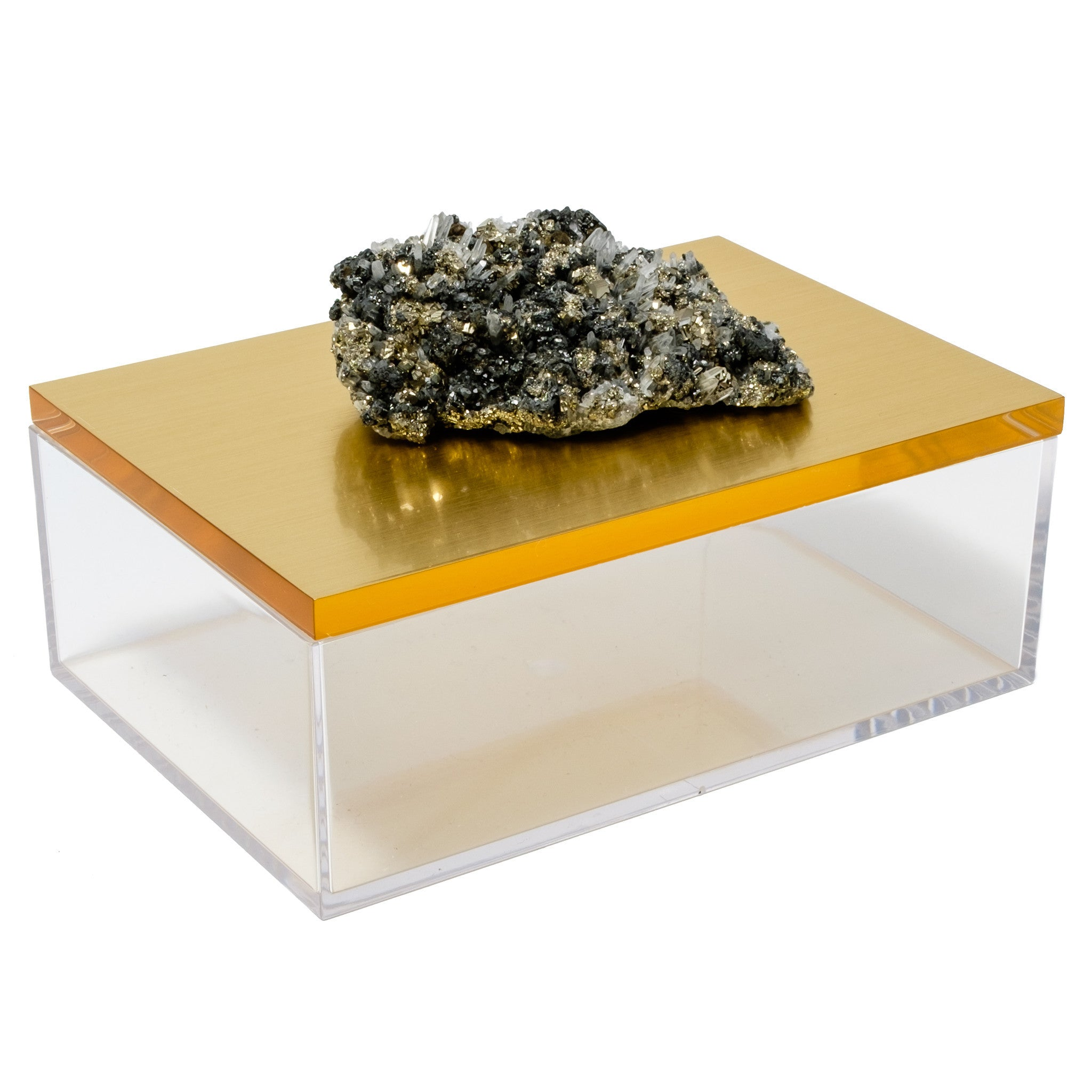Large Acrylic Gold Box w/ Pyrite Quartz