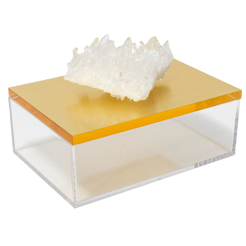 Large Acrylic Gold Box w/ Quartz Crystal