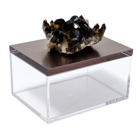 Acrylic Gun Metal Gray Box w/ Smoky Quartz