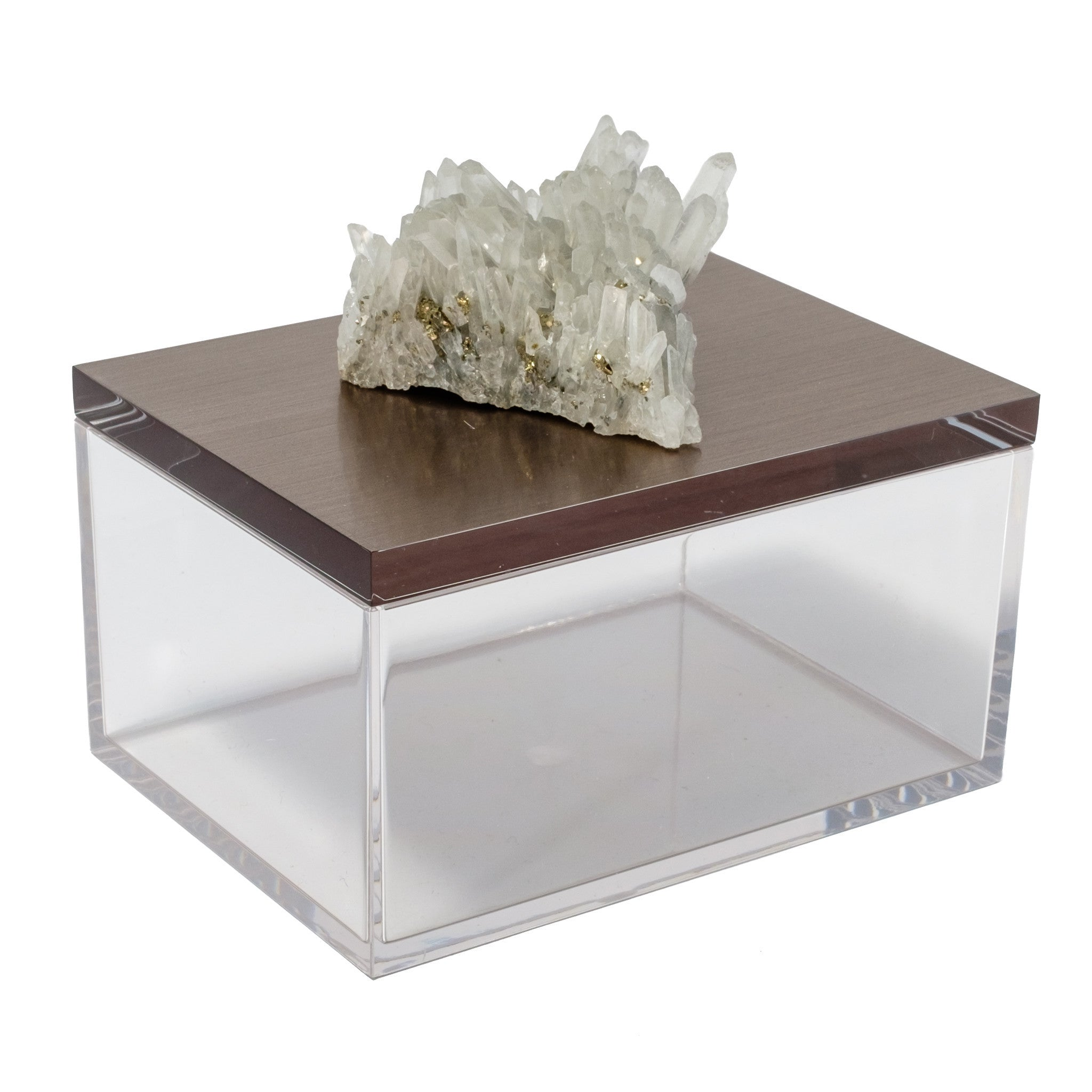 Acrylic Gun Metal Gray Box w/ Pyrite Quartz