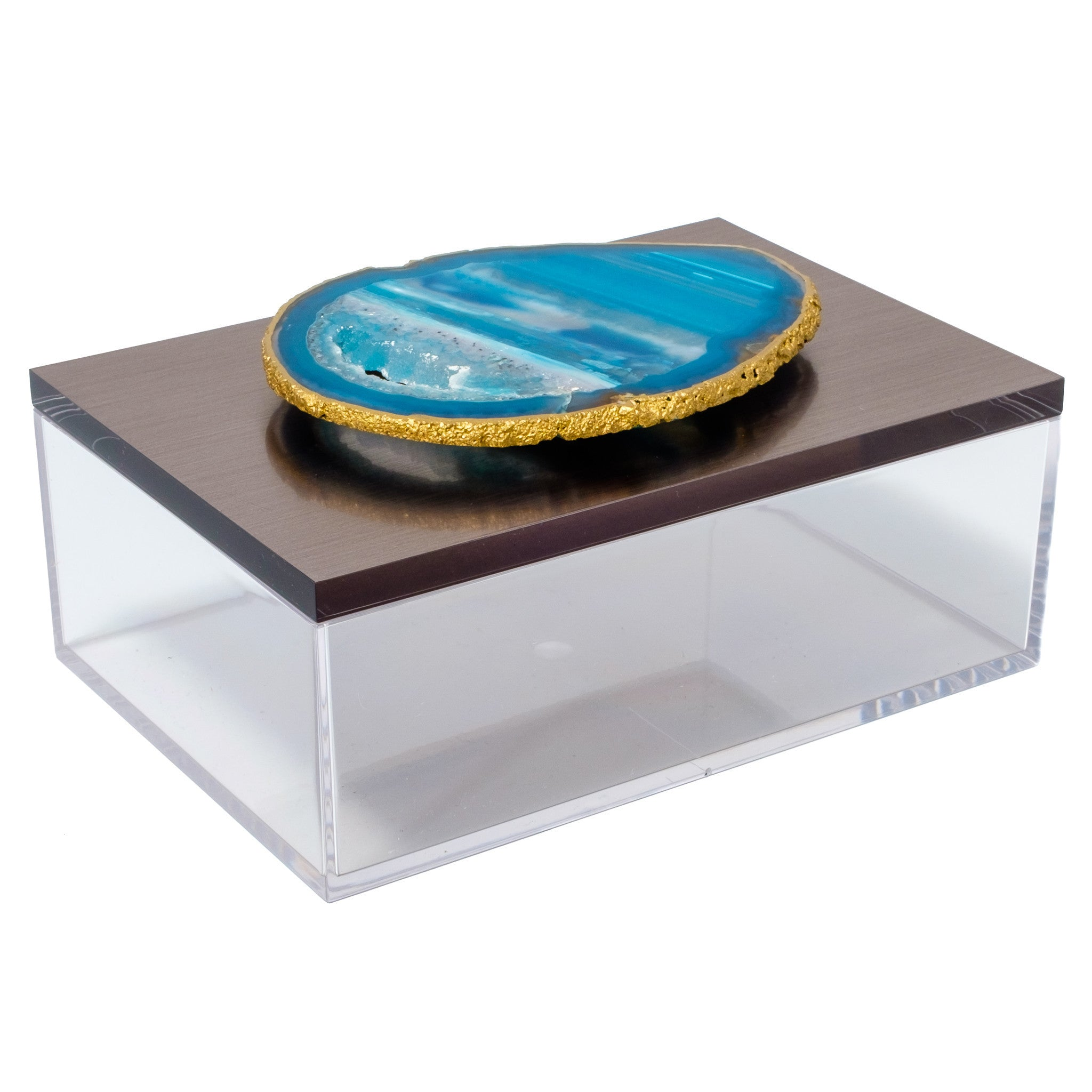 Large Acrylic Gun Metal Gray Box w/ Teal Agate