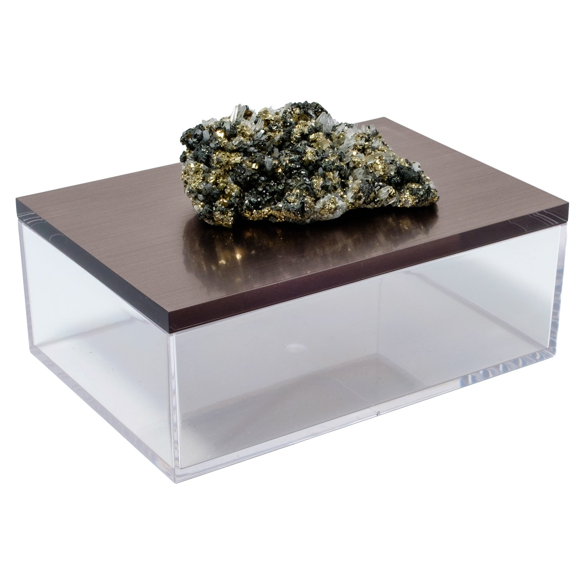 Large Acrylic Gun Metal Gray Box w/ Pyrite Quartz