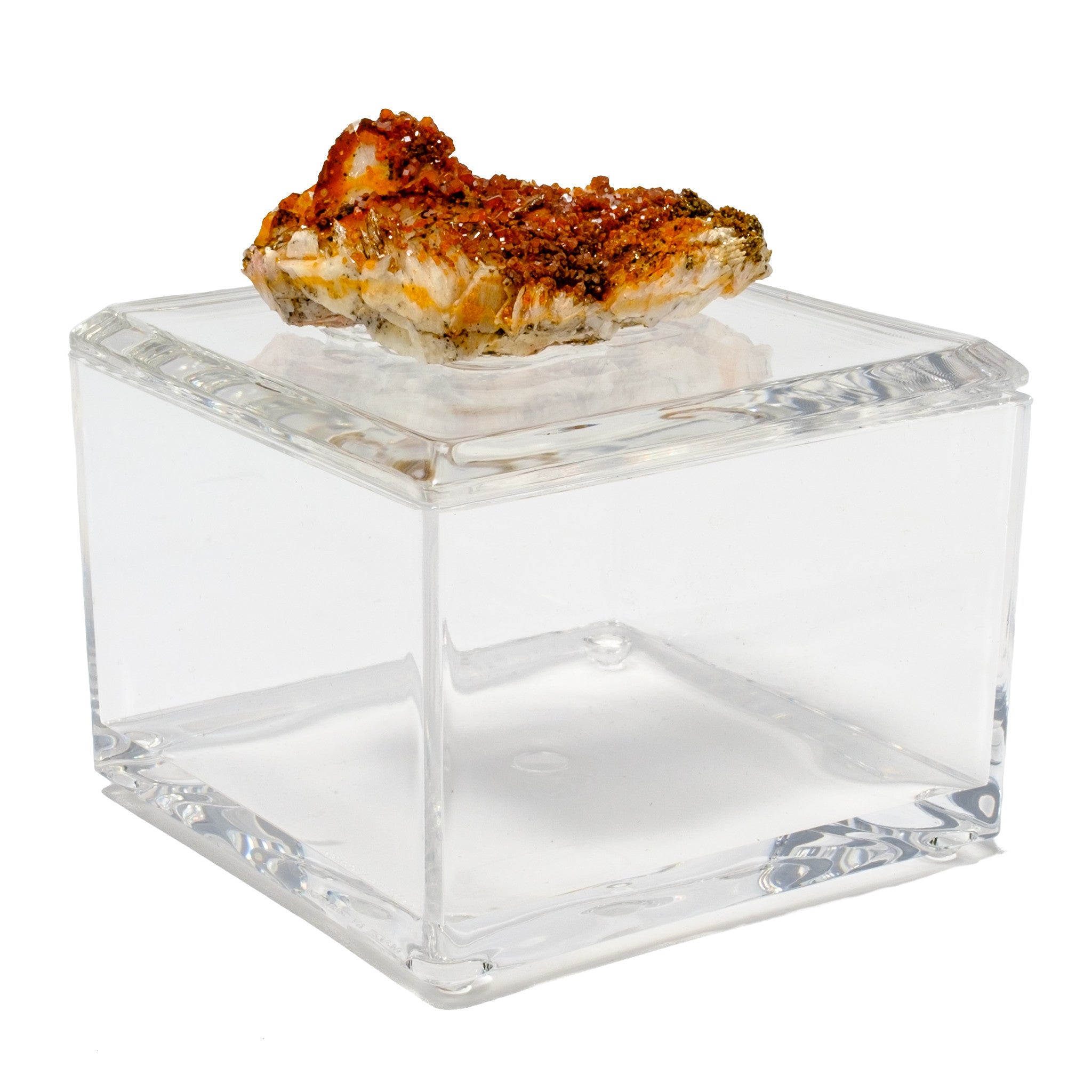 Small Acrylic Box w/ Hessonite Crystals