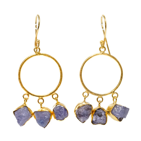 Rough Cut Amethyst Hoop Earrings