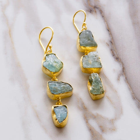 Aquamarine Three Ladder Earrings