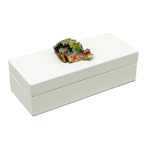 White Lacquer Box with a Bismuth Crystal Stone