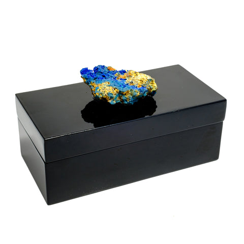 Medium Black Lacquer Box with a Azurite Specimen