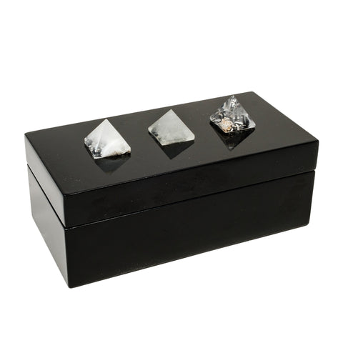 Medium Black Lacquer Box with a trio of quartz Pyramids
