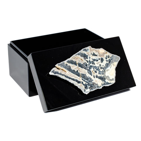 Large Black Lacquer Box with Tiger Stripe Agate