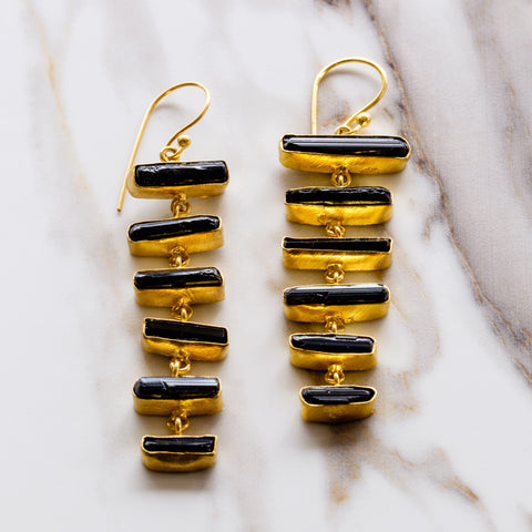 Black Tourmaline Ladder Drop Earrings