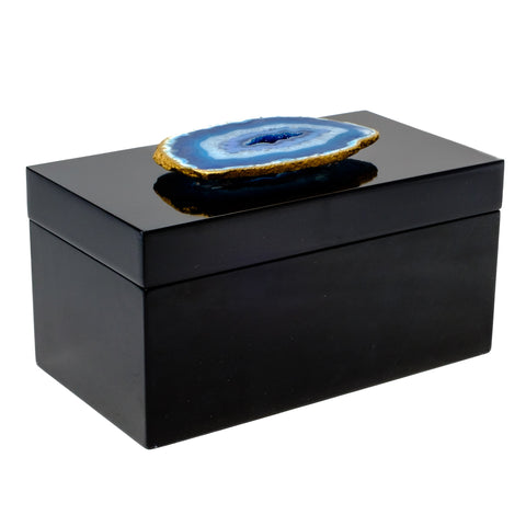 Large Black Lacquer Box with Blue Agate