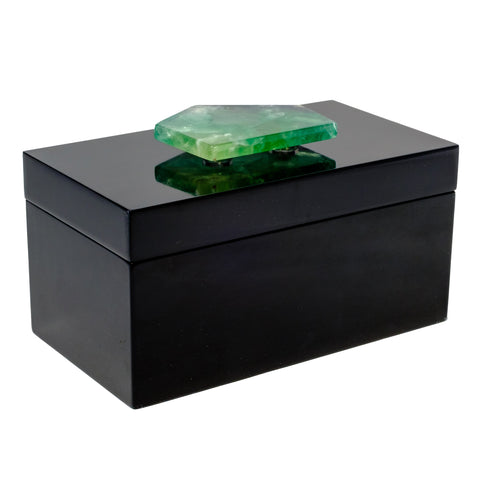 Large Black Lacquer Box with Fluorite Slab