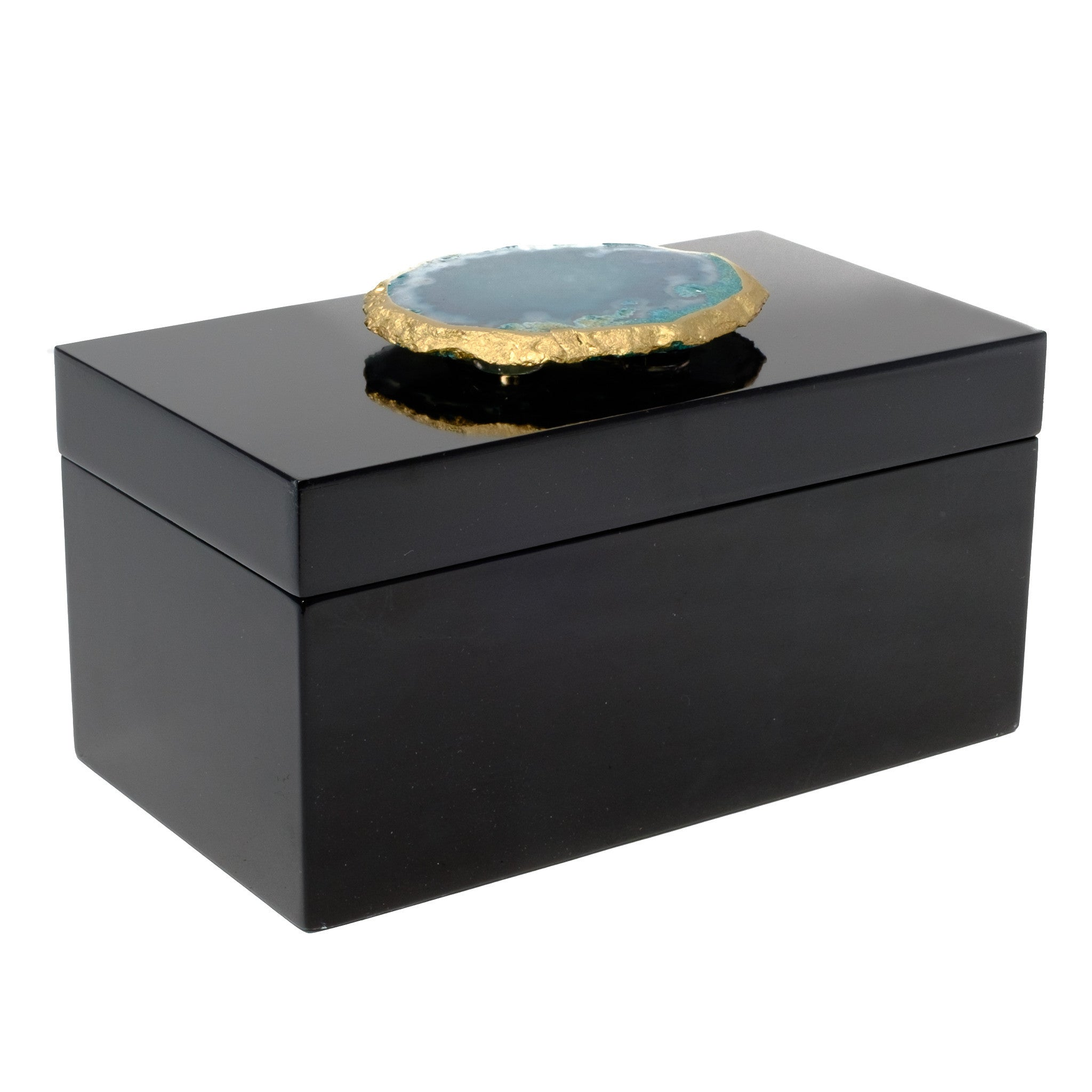 Large Black Lacquer Box with Teal Agate