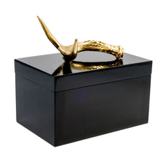 Remote Black Lacquer Box with Gold Antler
