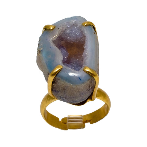 Blue Geode Prong Ring
