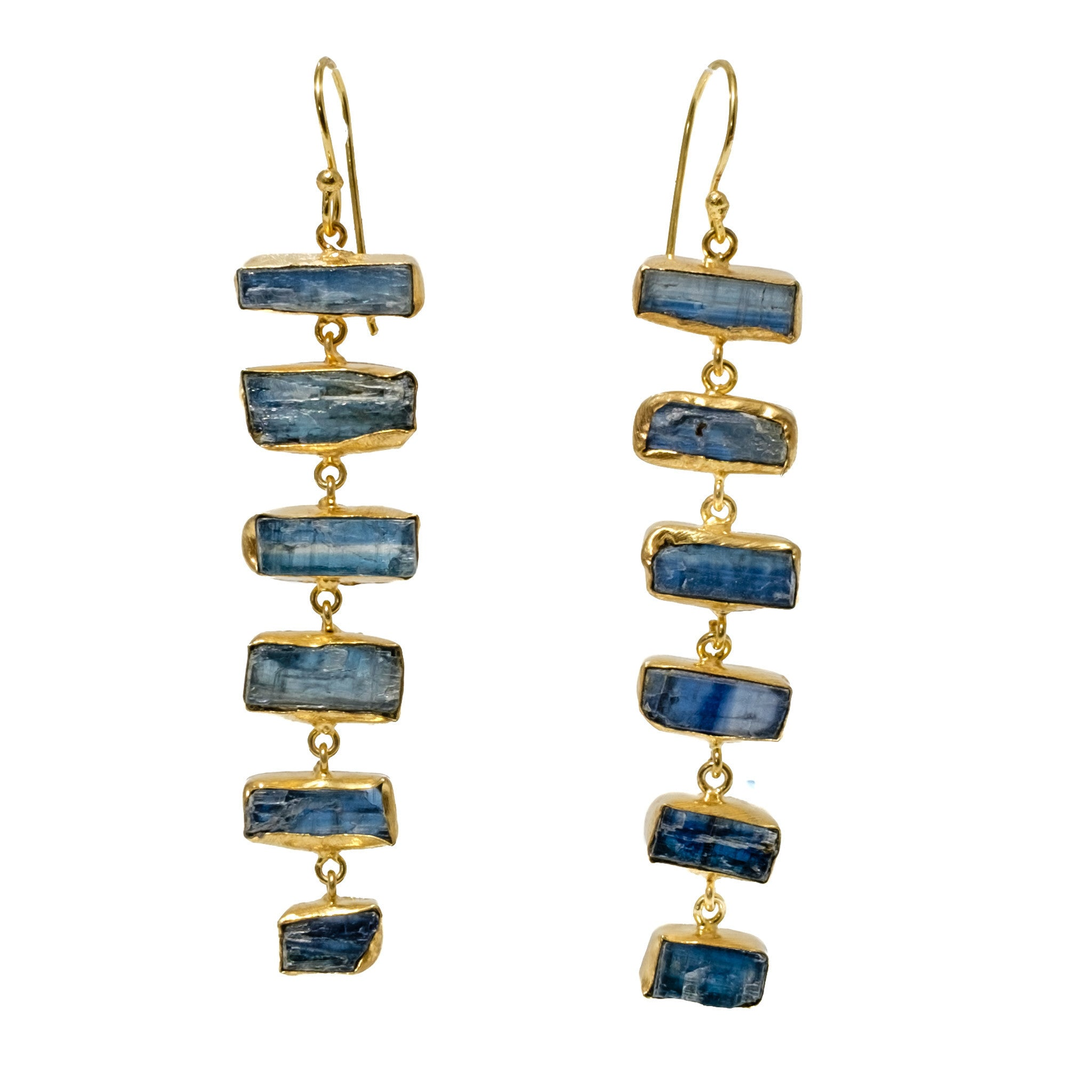 Blue Kyanite Ladder Earrings