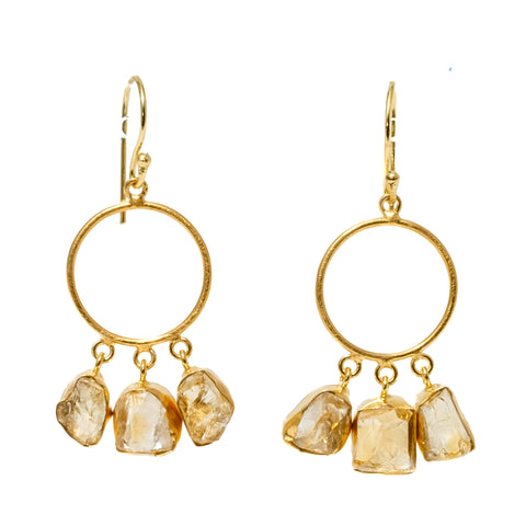 Rough Cut Citrine Hoop Earrings