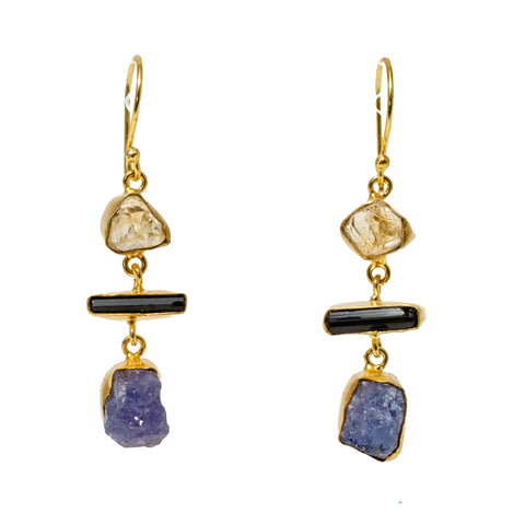 Citrine, Black Tourmaline, and Lolite Drop Earrings