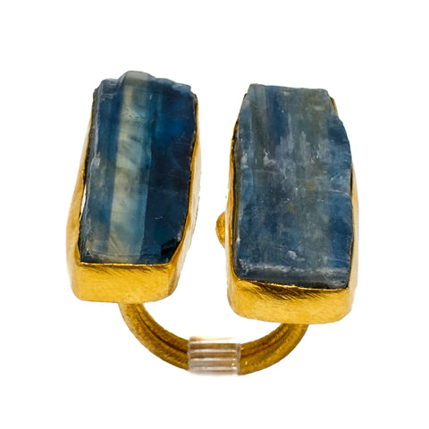 Double Blue Kyanite Bar Ring