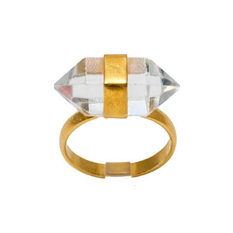 Double Point Crystal Ring