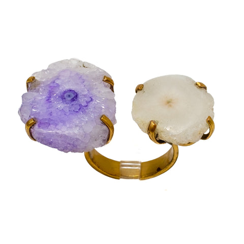 Double Solar Quartz Ring in Purple and White