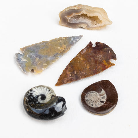 Earthbound gift set in Fossil by Mapleton Drive #fossil #arrrowheads #agate #geodes