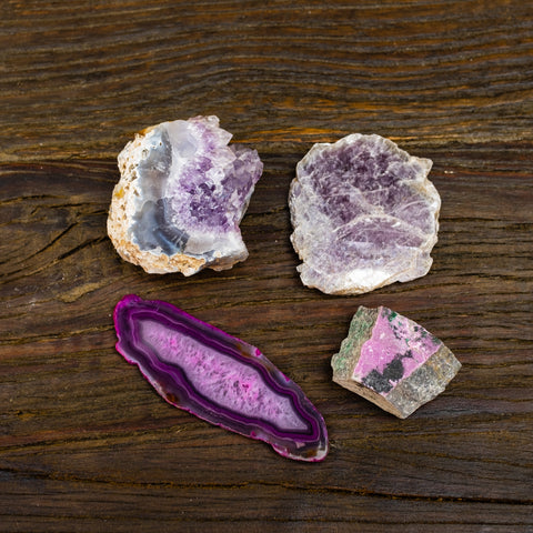 Earthbound gifts in love the heart by Mapleton Drive #amethyst #mica #cobalt #agate #roselite