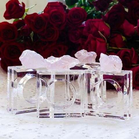 rose quartz napkin rings for Valentine's Day by Mapleton Drive
