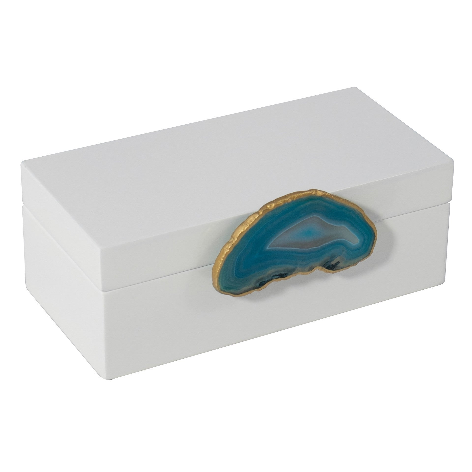 Medium White Lacquer Box with Teal Agate Knob