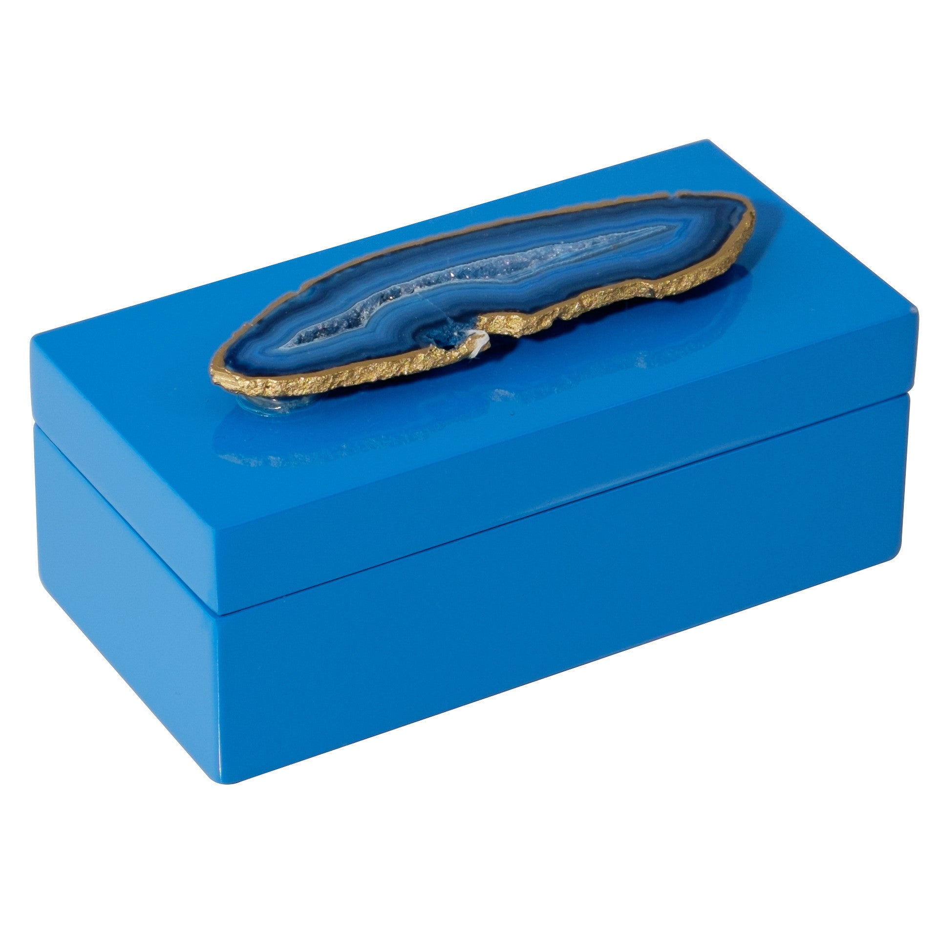 Medium Blue Lacquer Box with Blue Agate
