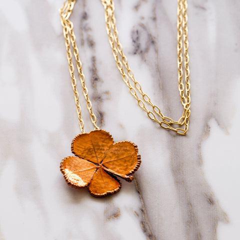 Copper Four Leaf Clover Necklace