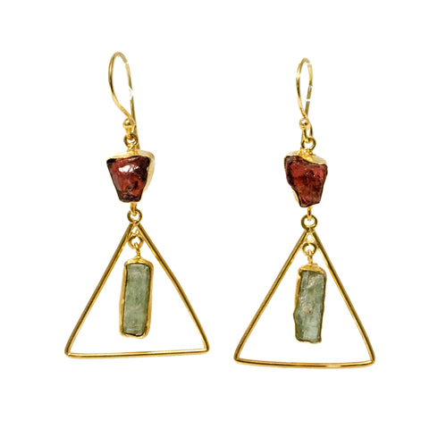 Garnet and Green Kyanite Triangle Drop Earrings