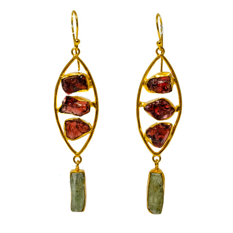 Garnet Peapod w/ Green Kyanite Drop Earring