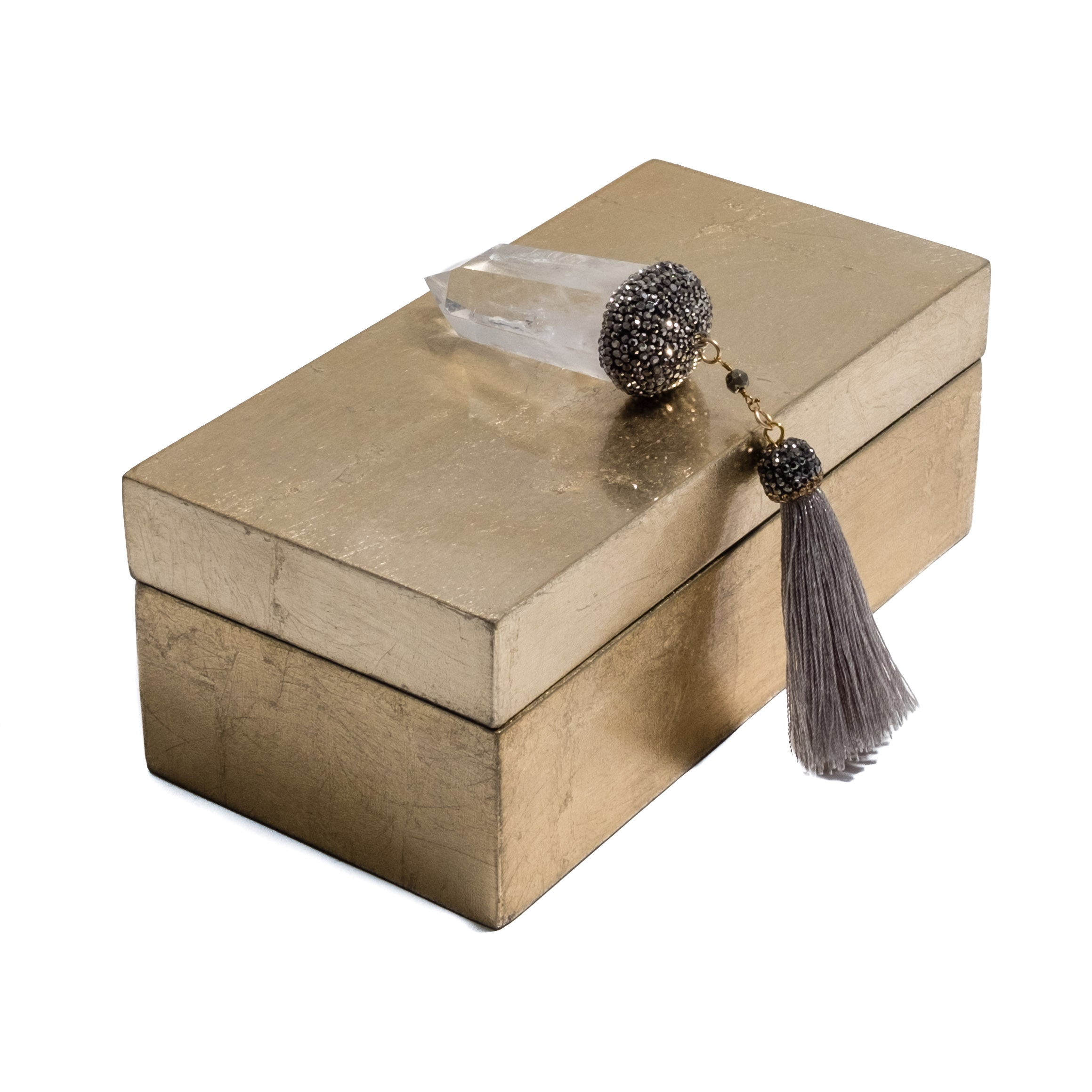 Unique gift boxes in gold and quartz tassel by Mapleton Drive