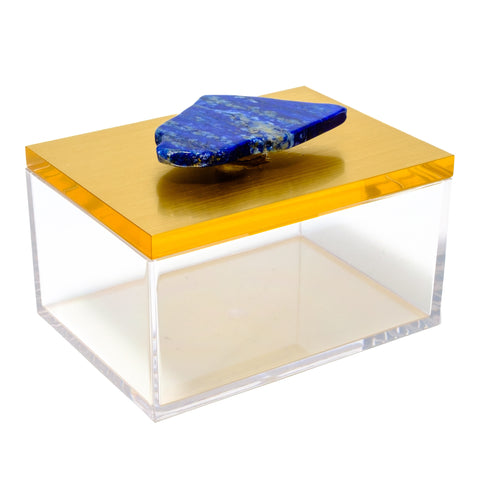 Medium Acrylic Gold Box With Lapis