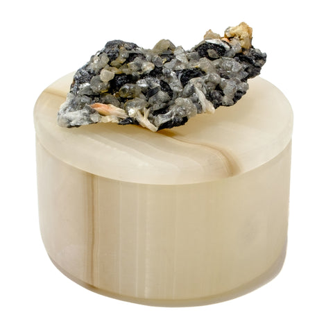 Small Round Gray Banded Onyx Box with Galena, Pyrite and Quartz Specimen