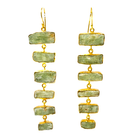 Green Kyanite Ladder Earrings