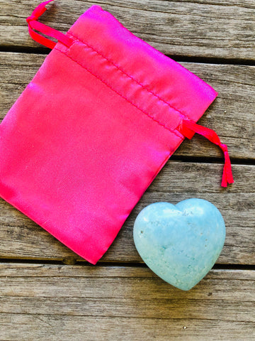 Gemstone Rock Heart in Soft Blue Howlite