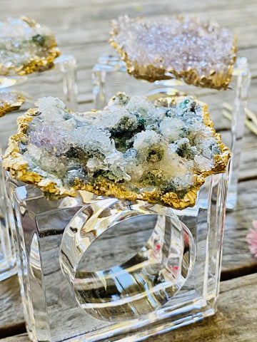 tablescape by Mapleton Drive.  Amethyst Flower Crystals adorn these gorgeous lucite rings.