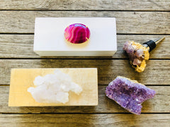 Small White Lacquer Box with Pink Agate