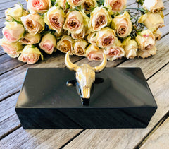 Small Black Lacquer Box with Gold Bull Skull