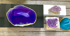 Large Black Lacquer Box with Purple Agate