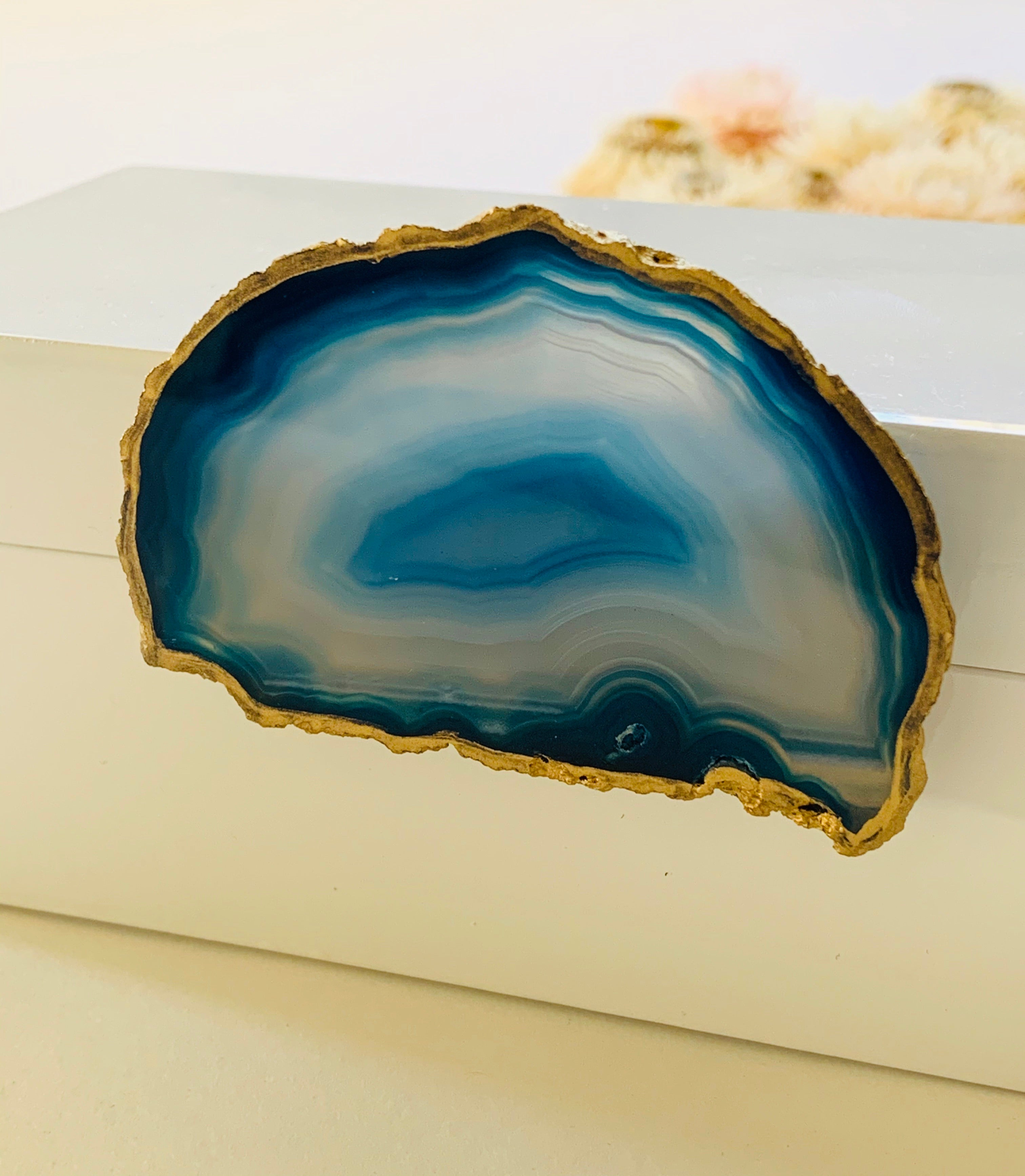 Medium White Lacquer Box with Blue Agate Knob