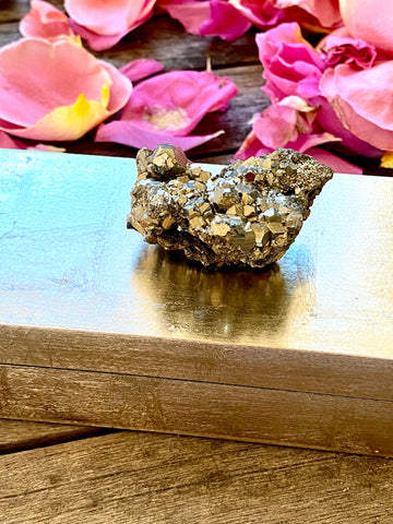 Small Gold Lacquer Box w/ Pyrite